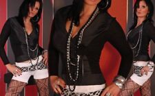 Miss Sexy Trendy Da Donna Pullover Lavorato A Maglia Maglione 32/34/36 lucentezza satinata nero NUOVO