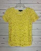 Karen Kane Boutique Women's S Small Yellow Sheer Lace Short Sleeve Top Blouse