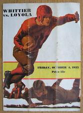 Vintage 1935 Loyola Whittier Football Program, 32 Autographs Tom Lieb Notre Dame