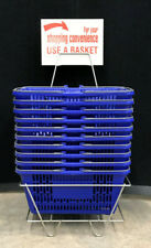 Blue Shopping Basket With Stand Set of 10