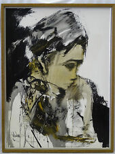 """FABULOUS 1976 GINO HOLLANDER (1924 -) ABSTRACT PORTRAIT PAINTING ~ 30"""" x 40"""""""
