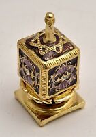 Metal Dreidel With Base in Purple Star of David Hand Made Enamel Painting