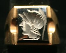 10K Yellow Gold Onxx Trojen Warrior Antique Men's Ring (Pre Owned)