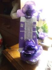 Purple and silver stiletto home decor table display