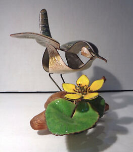 Brumm Enamel on Copper Wren & Marsh Marigold Sculpture on Driftwood EUC!