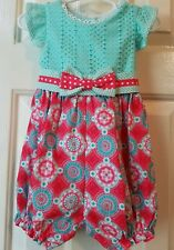 New Counting Daisies Baby Girls Romper Aqua Coral Medallion Print Size 18 Month