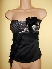 Nuevo Karen Millen Negro Empedrado/feathered/Sequinned Bustier tamaño UK 10