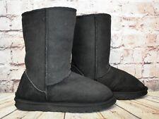 Womens Black Sheepskin Pull On Flat Winter Ankle Boots Size UK 6 EUR 39