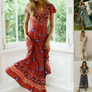 Womens Ladies UK V-Neck Sun Summer Beach Wrap Floral Tie Dye Maxi Dress