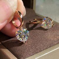 Fashion Women Cubic Zircon Earrings Crystal Heart Ear Hoop Drop Dangle Jewelry
