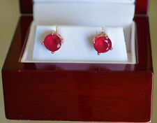 Beautiful Faceted 2Ct Round Red Ruby Stud Rose gold finish earrings