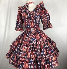Square Dance Dress Outfit Skirt Blouse Belt Tie Patriotic Print Stars Fireworks