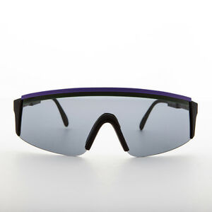 80s Sport Shield Vintage Sunglass with Adjustable Temples Purple - Louis
