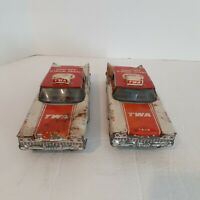 Vintage TWA FRICTION AIRPORT SERVICE CARS. Metal vintage cars. Set of 2 cars.