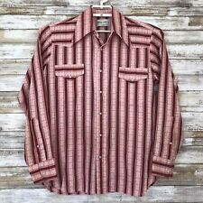 Rampage By Arrow Mens Shirt Sz M 15.5 L/S Red Multi Color Stripe Pearl Snap