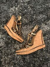 GENUINE - DOLCE & GABBANA BRONZE & GOLD WEDGES - UK 5 38