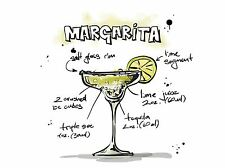 Impresión arte cartel Pintura Dibujo alcohol cóctel receta Margarita lfmp0941