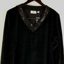 Quacker Factory Black Sequin Velour Top V Neck A217164 NWT