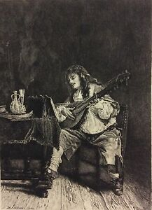 Ernest Meissonier The Player Of Guitar Engraved Per Leterrier