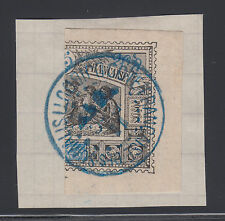 Obock Sc 53a used 1894 25c Somali Warriors Bisect on small piece