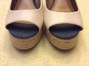 Preloved COACH Hadley Semi Mat CLF/Demim Espadrille Wedge Heels Women's Sz 6B