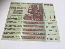 6 x Zimbabwe 200 MILLION Dollar Notes AA/2008 Consecutive Numbers UNC *BARGAIN*