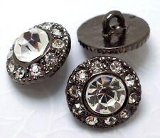 6 Sparkling 14mm Clear Crystal/Rhinestone Dark Tone Metal Shank Buttons N123