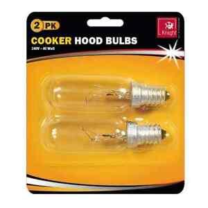 2 x 40w SES E14 240v Clear Lamp Tubular Cooker Hood Extractor Light Bulb Pack