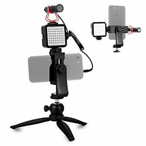 Smartphone Video Microphone Vlogger Kit with LED Light, Phone