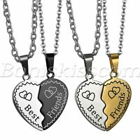 "2pcs Stainless Steel Puzzle Necklace ""Best Friends"" Love Heart Pendant Chain"