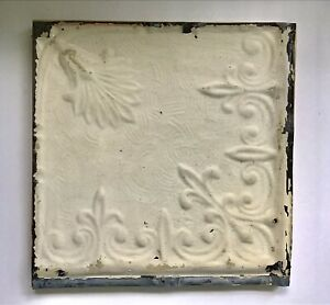 "Antique Tin Metal Embossed Ceiling Tile 12""x 12"" - mounted to hang"
