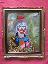 """Belle huile 1960 signée LOY """" le clown musicien """""""