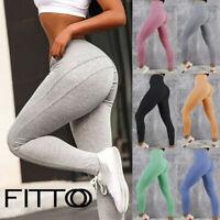 Women High Waisted Yoga Pants Hip Scrunch Gym Leggings Fitness Running Trousers