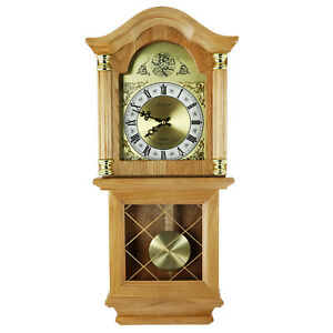"""NEW BEDFORD GOLDEN OAK FINISH 26"""" GRANDFATHER WALL CLOCK with PENDULUM & 4 CHIME"""