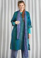 Gudrun Sjoden Wood Striped Blue/Green Boho Dress Sz S 50% Linen 2 Front Pockets