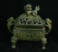 Chinese Dynasty Palace Old Bronze dragon lion Statue Incense Burner Censer Mark