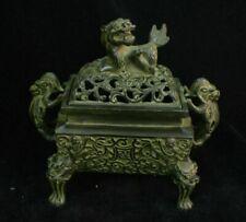 Chinese Dynasty Palace Old Bronze dragon lion Statue Incense Burner Censer Mark