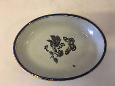 Vintage Antique Ceramic Oval Dish Plate Possibly Chinese Export Blue Butterfly