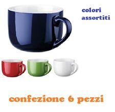 Set 6 Pezzi Tazza Porcellana Colorate Latte Colazione 450ml moc