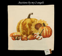 NWT Pottery Barn Thanksgiving Fall PUMPKIN SUNFLOWER Embroidered Pillow Cover!