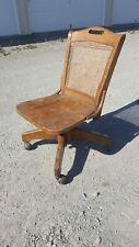 Antique Vintage Oak Woven Cane Rolling Adjustable Swivel Banker Lawyer Chair