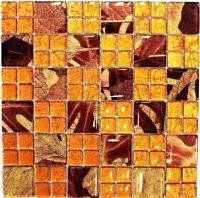 Glasmosaik orange mix Wand Küche WC Bad Fliesenspiegel Art:WB88-8SRO|1 Matte