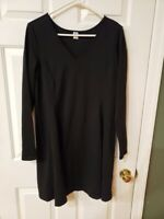 OLD NAVY WOMEN'S BLACK V NECK LONG SLEEVE DRESS SIZE L POLYESTER/RAYON/SPANDEX