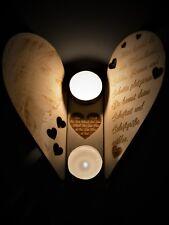 Teelicht Halter Holz Fotogravur Bild Gravur Wunschtext Kerzen Ständer Geschenk