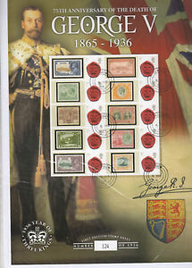 75th Anniversary of the Death of King George V Smiler Sheet - fine used