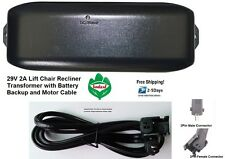 Pride Lift Chair Power Recliner Transformer w/battery backup Motor Cable 29V2A