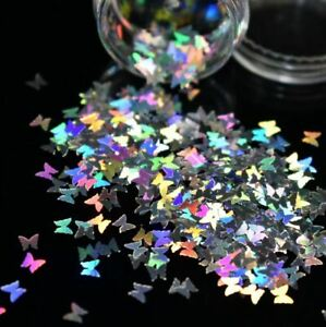Nail Art Glitter BUTTERFLY Holographic 3D SHAPE Shining Decoration 3ml Pot Craft
