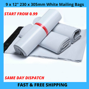 """9"""" x 12""""  Strong White Cheap Postal Bags Poly Mailing Postage Self Seal Packing"""