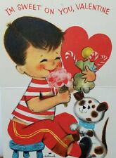 "Vintage Valentine Card Little Boy Eating ""I'm Sweet on You, Valentine"" Hallmark"