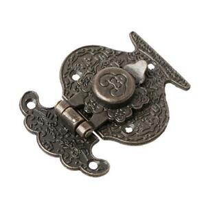 Antique Bronze Hasp Latch Jewelry Wooden Box Mini Cabinet Buckle Lock Decorative
